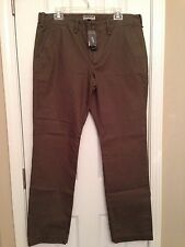 NWT-Mens Express Photographer Slim Fit Straight Leg Khaki Green Chino Pants
