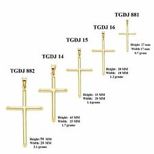 14K SOLID YELLOW GOLD Cross Crucifix Polished Pendant Charm Necklace Men Women