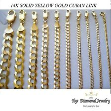 "2mm-10mm 14k Solid Authentic Cuban Link Yellow Gold Chain Necklace 16""-30"""
