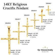 14K SOLID YELLOW GOLD CRUCIFIX CROSS CHARM / PENDANT RELIGIOUS