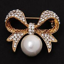 Hot Alloy Rhinestone Bowknot Pearls Brooch Pins Jewelry Costume