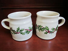 Set of 2 Roseville Spongeware Mugs HOLIDAY HOLLY Gerald Henn Workshops Pottery