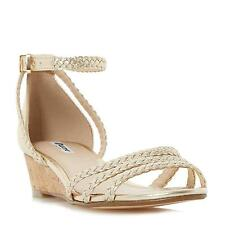 Dune Ladies KASSIDY Plaited Strap Wedge Sandal in Gold
