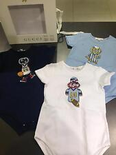 NWT NEW Gucci baby GG sport 3pc blue navy white romper gift set 6/9m or 9/12m