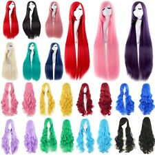 Cosplay Hair Wig Long Straight Wavy Curly Women Party Full Bangs Wig Purple Pink