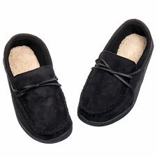 Isotoner Mens Microsuede Moccasin Style Sherpa Lined Slippers