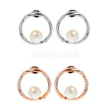 1 Pair Punk Style Circle Ear Studs Rose Gold/Silver Plated Earrings Jewelry