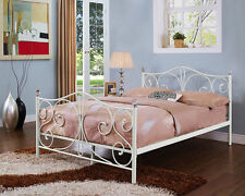 Single, 4ft6 Double & 5ft King Black/White Metal Bed Frame With Crystal Finials