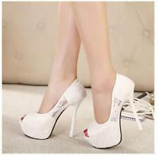 Womens Stiletto High Heel Platform Peep Toe Sandal Bride Wedding Pumps Shoes Sz