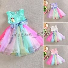 Toddler Kids Baby Girls Summer Rainbow Princess Party Pageant Holiday Tutu Dress