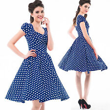 Women Vintage 50S ROCKABILLY Short Sleeves Picnic Pinup Swing Polka Dots Dresses