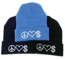 Women's Men's Winter Beanie Hats PEACE LOVE MONEY Hip Hop Knit Ski Skull Caps NW