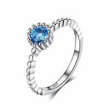 JewelryPalace 925 Sterling Silver 0.6ct Natural Swiss Blue Topaz Rope Band Ring