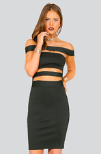 Off The Shoulder Cutout Bandage Knee-Length Bodycon Dress | BLACK | Wow Couture