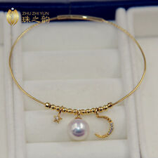 """36"""" Strking AAAAA 10-9mm south sea golden natural pearl necklace 14K clasp"""