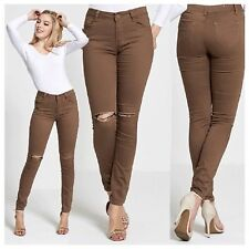 WOMENS LADIES BROWN JEANS STRETCH SLIM FIT SEXY SUPER SKINNY RIPPED KNEE JEANS