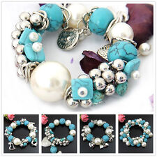 Special Offer, Turquoise Pearl Silvered Resin Stretch Bangle SD059