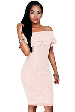 Women sexy pink lace boat neck off  Shoulder bodycon clubwear party Mini Dress