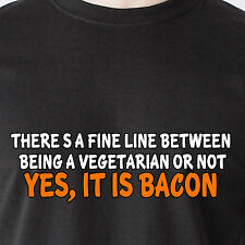 there's a fine line between being a vegetarian or not bacon retro Funny T-Shirt