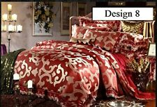 Luxury 4pc. Burgundy Lace Edge Jacquard Queen King 100% Cotton Duvet Cover Set