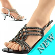 LADIES WOMENS HEELS STRAPPY PARTY PROM BRIDAL WEDDING SANDALS SHOES SIZE UK4-UK9