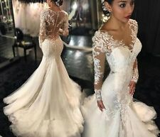 Lace Wedding Dress Sexy Mermaid See Through Long Sleeve Sweep Train Bridal Gowns