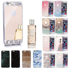 Luxury Bling Diamond Mirror Skin Back TPU Soft Case Cover For iPhone 6/6S Plus
