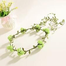 Charming Women Hair Bun Ring Band Garland Girl Flower Leaf Top Knot Scrunchie Y2