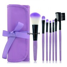 New 7PCS Professional Handle Makeup Cosmetic Brush Set With Case Purple / OO55