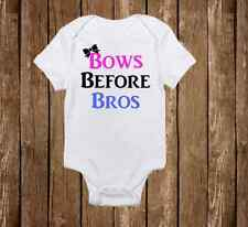 Cute Bows Before Bros Onesie for Baby Girl - Infant Funny Romper Gerber
