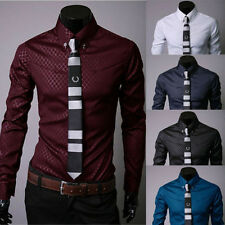 Fashion Mens Luxury Casual Shirts Slim Fit Dress Shirts Long Sleeve Button Front