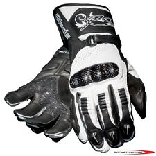 RST BLADE LADY LADIES WOMANS MOTORCYCLE GLOVES CARBON KNUCKLE MOTORBIKE WHITE