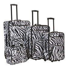 ROCKLAND Fashion 4 Piece Zebra Expandable Rolling Luggage Set by Fox Luggage
