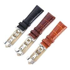 Genuine Leather Stainless Steel Butterfly Clasp Buckle Watch Band Strap