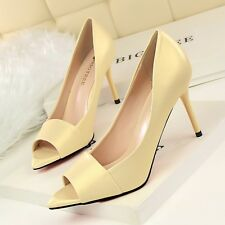 Chic Womens High Heels Peep Toe Pumps Simple Stilettos Pointed Toe Sandals Shoes