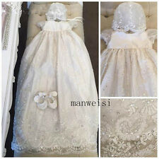 Toddler Baby Baptism Christening Gown Lace Crystal Dresses Bonnet Custom