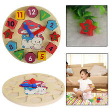 Childrens Wooden Clock Puzzle Learn to Tell The Time Clock Blocks Digital Clock