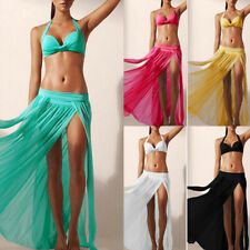 Sexy Women Bikini Cover Up Swimsuit Sheer Beach Maxi Skirt Sarong Dress Swimwear