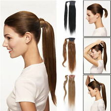 "16""18""20"" Straight Ponytail Clip in 100% Virgin Human Hair Extension 80g/100g"