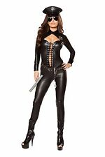 Sexy Roma Frisky Officer Cop Police Catsuit Halloween Costume W/WO GLASSES 10063