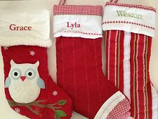 Embroidered Pottery Barn Kids Christmas Stocking Quilted Fabric, Various styles