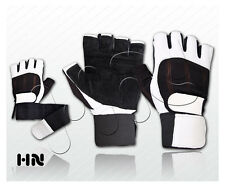 WEIGHT LIFTING LEATHER GLOVES FITNESS TRAINING BODYBUILDING GYM LONG WRIST STRAP