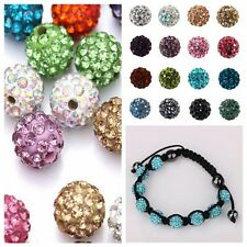 New 8-12mm Colorful Pave Rhinestone Crystal Clay Round Disco Ball Spacer Beads