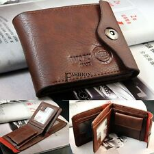 Bifold Wallet Men's Leather Brown Credit/ID Card Holder Slim Coin Purse FNHB