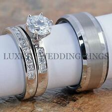 3PCS Silver Women's Ring Set & Tungsten Men's Ring Wedding Bands Bridal Jewelry