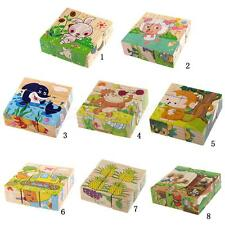 Baby Kids Wooden Cartoon 6 Sides 9pcs Puzzle Blocks Early Educational Jigsaw Toy