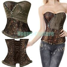 BROWN PUNK WOMEN WAIST TRAINING GOTHIC CORSET OVERBUST LACE UP BUSTIER TOP VC