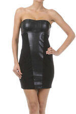 Dress Leather Black Strapless Rock Dominatrix Tube Mini S L Sexy New Womens Hot