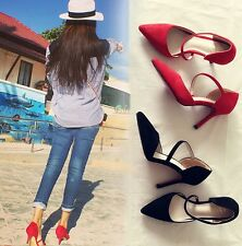 New Women Sandal High Heel Pointed Toe Pumps Sexy Club Stilettos Suede Red Shoes
