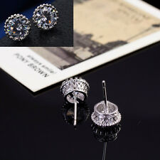 New 18K White Gold PlatedChic Crown Crystal Princes Ear Stud Earring Jewelry